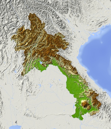 laos: Laos, shaded relief map.