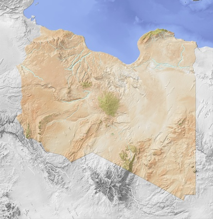 libya: Libya, shaded relief map.