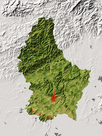 Luxembourg, shaded relief map.  photo