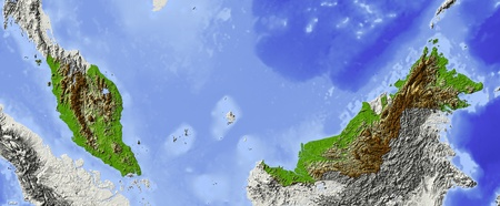 relief maps: Malaysia.