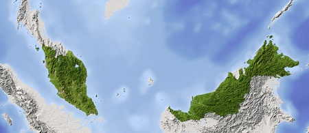 Malaysia. Shaded relief map.