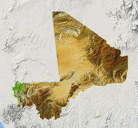 Mali: Mali. Shaded relief map.