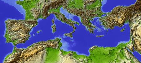 Ombreggiato sollievo mappa del Mediterraneo. Archivio Fotografico