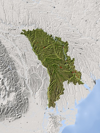 bathymetry: Moldova. Shaded relief map.