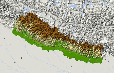 himalaya: Nepal, shaded relief map.