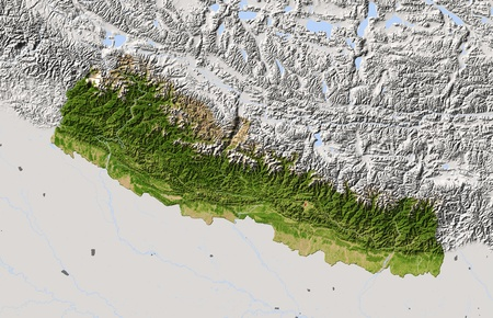 Nepal, shaded relief map