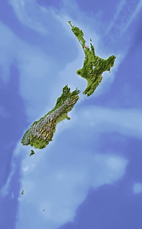 relief maps: New Zealand.