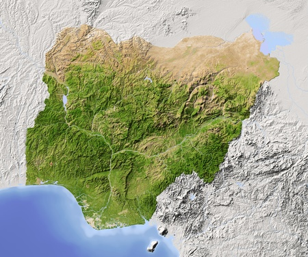 Nigeria. Shaded relief map.