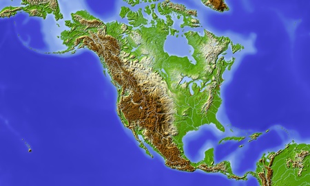 north america: North and Central America.  Stock Photo