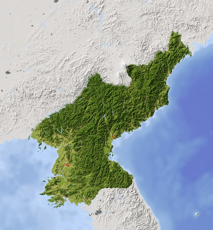 to the north: North Korea.  Stock Photo