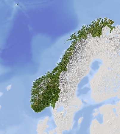 Norway. Shaded relief map.