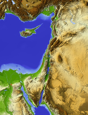 Shaded relief map of Palestine, with rivers and major urban areas. Imagens - 10899077