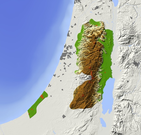 West Bank and Gaza Strip. Shaded relief map with major urban areas. Surrounding territory greyed out. Colored according to elevation. Includes clip path for the state area.Projection: Standard MercatorExtents: 33.8/36.0/31/32.8Data source: NASA
