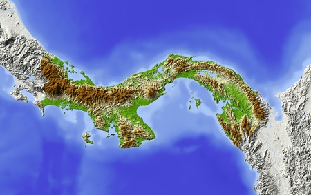 Panama. Shaded relief map. Surrounding territory greyed out. Colored according to elevation. Includes clip path for the state area. Projection: Mercator Extents: -84-76611 Data source: NASA