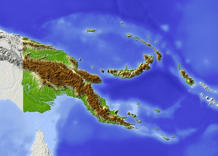 Papua New Guinea, shaded relief map. Colored according to elevation. Includes clip path for the state boundary. Projection: Mercator ; Geographic extents: W: 139; E: 158; S: -13; N: 0.6 Standard-Bild