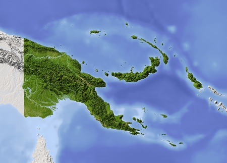 Papua New Guinea, shaded relief map. Colored according to vegetation. Includes clip path for the state boundary. Projection: Mercator ; Geographic extents: W: 139; E: 158; S: -13; N: 0.6