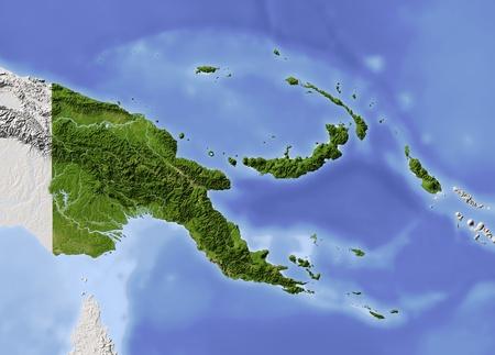 Nuova Guinea: Papua Nuova Guinea, mappa in rilievo ombreggiato. Dipinto in base alla vegetazione. Include il percorso clip per la frontiera dello Stato. Proiezione: Mercator; estensioni geografiche: W: 139, E 158;: S: -13; N: 0.6 Archivio Fotografico