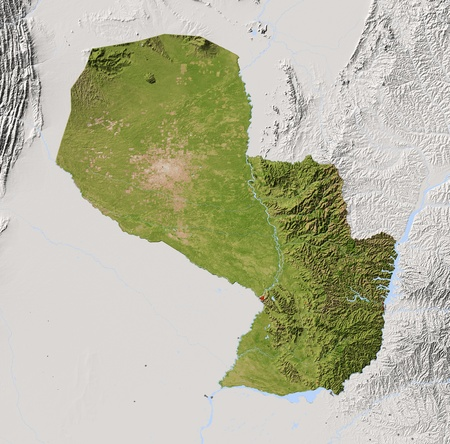paraguay: Paraguay. Shaded relief map with major urban areas. Surrounding territory greyed out. Colored according to vegetation. Includes clip path for the state area. Projection: Mercator Extents: -64.0-53-28.5-18.5 Data source: NASA Stock Photo