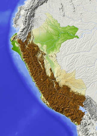 Peru. Shaded relief map. Surrounding territory greyed out. Colored according to elevation. Includes clip path for the state area.Projection: MercatorExtents: -83/-67/-20/2Data source: NASA