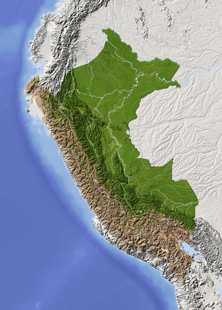 topographic map: Peru. Shaded relief map. Surrounding territory greyed out. Colored according to vegetation. Includes clip path for the state area. Projection: Mercator Extents: -83-67-202 Data source: NASA Stock Photo