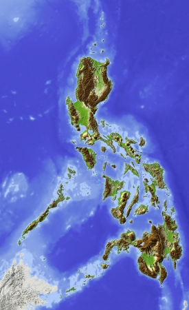 Philippines. Shaded relief map. Surrounding territory greyed out. Colored according to elevation. Includes clip path for the state area. Imagens - 10962342