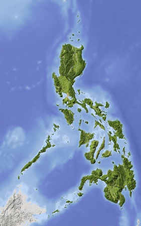Philippines. Shaded relief map. Surrounding territory greyed out. Colored according to elevation. Includes clip path for the state area.Projection: MercatorExtents: 115.5/127/4/22