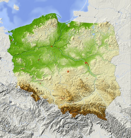 Poland. Shaded relief map with major urban areas. Surrounding territory greyed out. Colored according to elevation. Includes clip path for the state area. Projection: Mercator Extents: 13.5254855.5 Data source: NASA photo