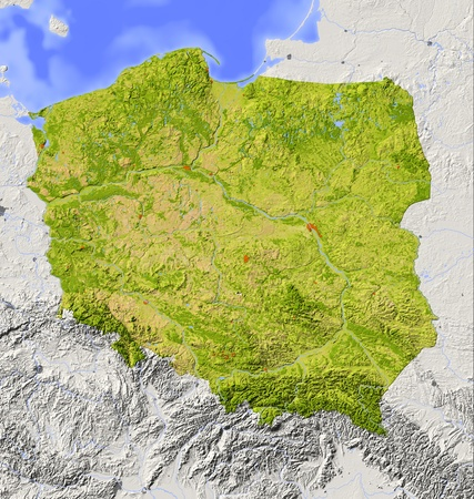 Poland. Shaded relief map with major urban areas. Surrounding territory greyed out. Colored according to vegetation. Includes clip path for the state area.Projection: MercatorExtents: 13.5/25/48/55.5Data source: NASA