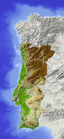 Portugal. Shaded relief map. Surrounding territory greyed out. Colored according to elevation. Includes clip path for the state area.Projection: MercatorExtents: -10.4/-5.5/36.4/44.5 Standard-Bild