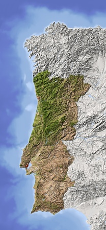 Portugal. Shaded relief map. Surrounding territory greyed out. Colored according to vegetation. Includes clip path for the state area.Projection: MercatorExtents: -10.4/-5.5/36.4/44.5 Standard-Bild