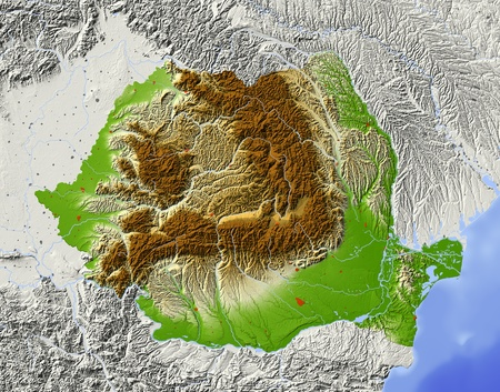Romania. Shaded relief map with major urban areas. Surrounding territory greyed out. Colored according to elevation. Includes clip path for the state area. Projection: Mercator Extents: 19.530.54349 Data source: NASA