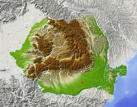 Rumänien. Relief-Karte mit den wichtigsten städtischen Gebieten. Umliegende Gebiet ausgegraut. Farbige nach Höhenlage. Mit Clip-Pfad für die Landesfläche. Projektion: Mercator Extents: 19.5/30.5/43/49 Quelle der Daten: NASA Standard-Bild