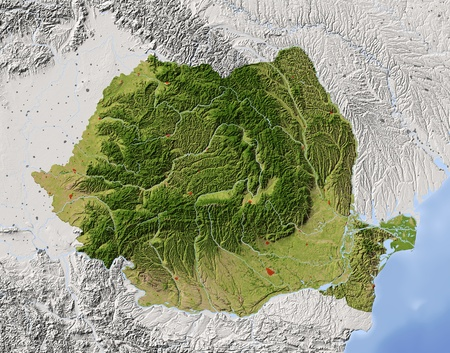 Romania. Shaded relief map. Surrounding territory greyed out. Colored according to vegetation. Includes clip path for the state area. Projection: Mercator Extents: 19.530.54349  Stock Photo