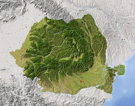 Rumänien. Geographische Karte. Umliegende Gebiet ausgegraut. Farbig nach Vegetation. Mit Clip-Pfad für den Staat Bereich. Projektion: Mercator Extents: 19.5/30.5/43/49