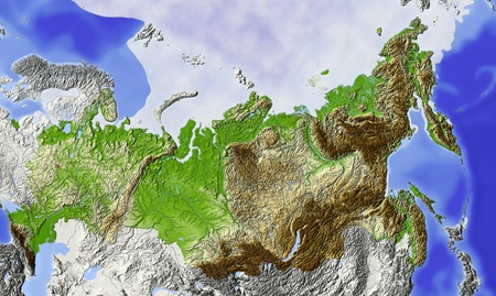 Russia. Shaded relief map of Russian Federation, with rivers, major urban areas and polar ice. Surrounding territory greyed out. Colored according to terrain height.