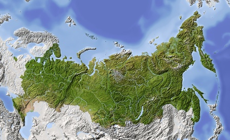 Russia. Shaded relief map of Russian Federation, with rivers, major urban areas. Surrounding territory greyed out. Colored according to vegetation.  Projection: Albers conic equal-area Extents: 453120055 Data source: NASA photo