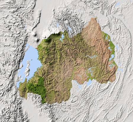 Rwanda. Shaded relief map. Surrounding territory greyed out. Colored according to vegetation. Includes clip path for the state area.Projection: MercatorExtents: 28.5/31.2/-3.2/-0.7Data source: NASA Standard-Bild