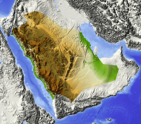 Saudi Arabia. Shaded relief map. Surrounding territory greyed out. Colored according to elevation. Includes clip path for the state area.
