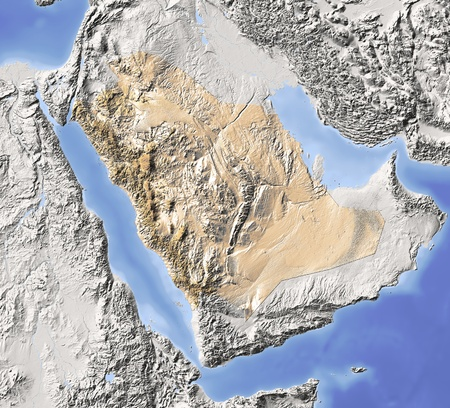 Saudi Arabia. Shaded relief map. Surrounding territory greyed out. Colored according to vegetation. Includes clip path for the state area.Projection: MercatorExtents: 30/60/10/35