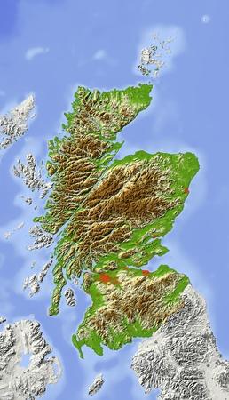 Scotland. Shaded relief map with major urban areas. Surrounding territory greyed out. Colored according to elevation. Includes clip path for the state area.Projection: Standard MercatorExtents: -12/4.5/48.4/62.2Data source: NASA