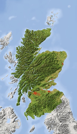 Scotland. Shaded relief map with major urban areas. Surrounding territory greyed out. Colored according to vegetation. Includes clip path for the state area. Projection: Standard Mercator Extents: -124.548.462.2 Data source: NASA photo