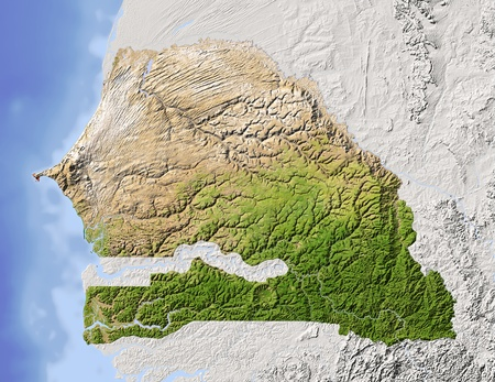 Senegal. Shaded relief map. Surrounding territory greyed out. Colored according to vegetation. Includes clip path for the state area.Projection: MercatorExtents: -18/-10.8/11.8/17.2Data source: NASA