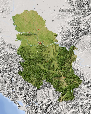 Serbia (without Kosovo). Shaded relief map with major urban areas. Surrounding territory greyed out. Colored according to vegetation. Includes clip path for the state area.Projection: MercatorExtents: 18.1/23.5/41.7/46.6Data source: NASA Stock Photo - 10962384