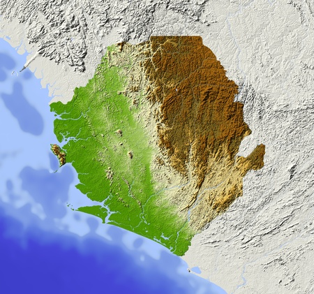 Sierra Leone. Shaded relief map. Surrounding territory greyed out. Colored according to elevation. Includes clip path for the state area.Projection: MercatorExtents: -14/-9.6/6.4/10.5Data source: NASA Stock Photo - 10962375