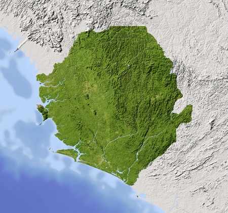Sierra Leone. Shaded relief map. Surrounding territory greyed out. Colored according to vegetation. Includes clip path for the state area.Projection: MercatorExtents: -14/-9.6/6.4/10.5Data source: NASA Stock Photo - 10962370