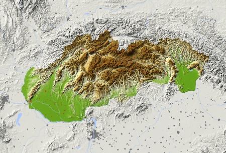 Eslovaquia. Mapa en relieve sombreado con las principales zonas urbanas. Territorio circundante de color gris. Pintado de acuerdo a la elevación. Incluye el camino del clip para el área de estado. Proyección: Extensión de Mercator: 16.2/23.1/47.1/50.2 Fuente de datos: NASA Foto de archivo