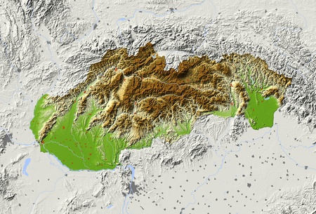 Slovakia. Shaded relief map with major urban areas. Surrounding territory greyed out. Colored according to elevation. Includes clip path for the state area.Projection: MercatorExtents: 16.2/23.1/47.1/50.2Data source: NASA Standard-Bild