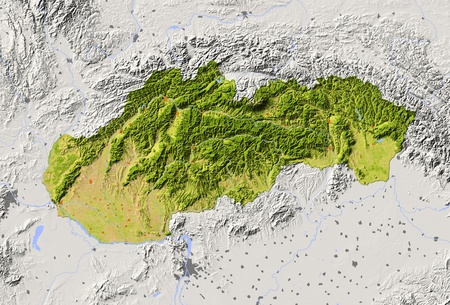 Slovakia. Shaded relief map with major urban areas. Surrounding territory greyed out. Colored according to vegetation. Includes clip path for the state area.Projection: MercatorExtents: 16.2/23.1/47.1/50.2Data source: NASA