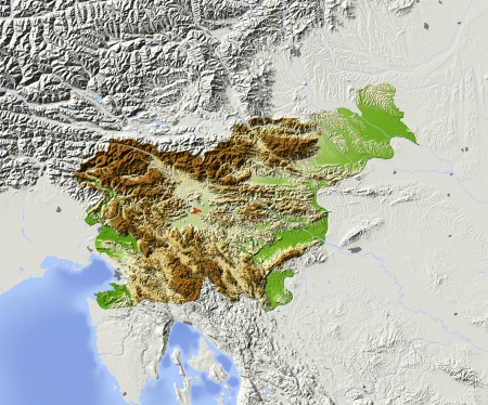 Slovenia. Shaded relief map with major urban areas. Surrounding territory greyed out. Colored according to elevation. Includes clip path for the state area. Projection: Mercator Extents: 12.717.244.847.4 Data source: NASA photo