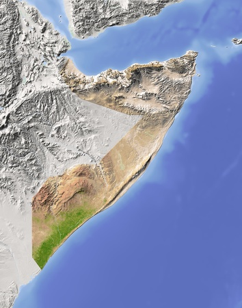 Somalia. Shaded relief map. Surrounding territory greyed out. Colored according to vegetation. Includes clip path for the state area. Projection: Mercator Extents: 3954-415.0 Data source: NASA photo